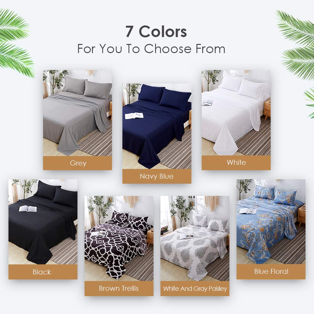 Stain and Wrinkle Resistant Deep Pocket Bed Sheets Queen Hypoallergenic Agedate 4 Piece Brushed Microfiber Bed Sheets Set Queen Size Easy to care Black Fade