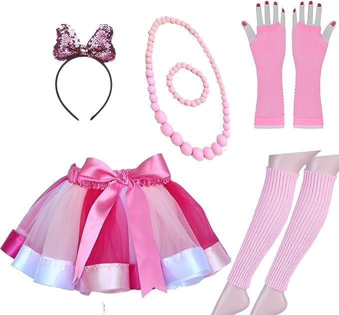 Ann/ées 80 D/éguisements Robes de f/ête Accessoires avec Neon Rainbow Robe Gant Neon Bracelets Dentelle Arc Bandeau 80 s Costume Violet Lhasam 80s D/éguisements Accessoires Femmes Filles
