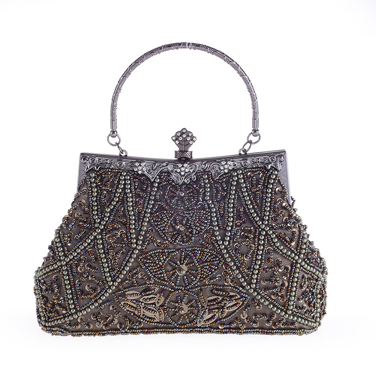 HeySun Vintage Beaded Sequin Formal Evening Bags Antique Style Wedding Handbag Purse for Women (Bronze)