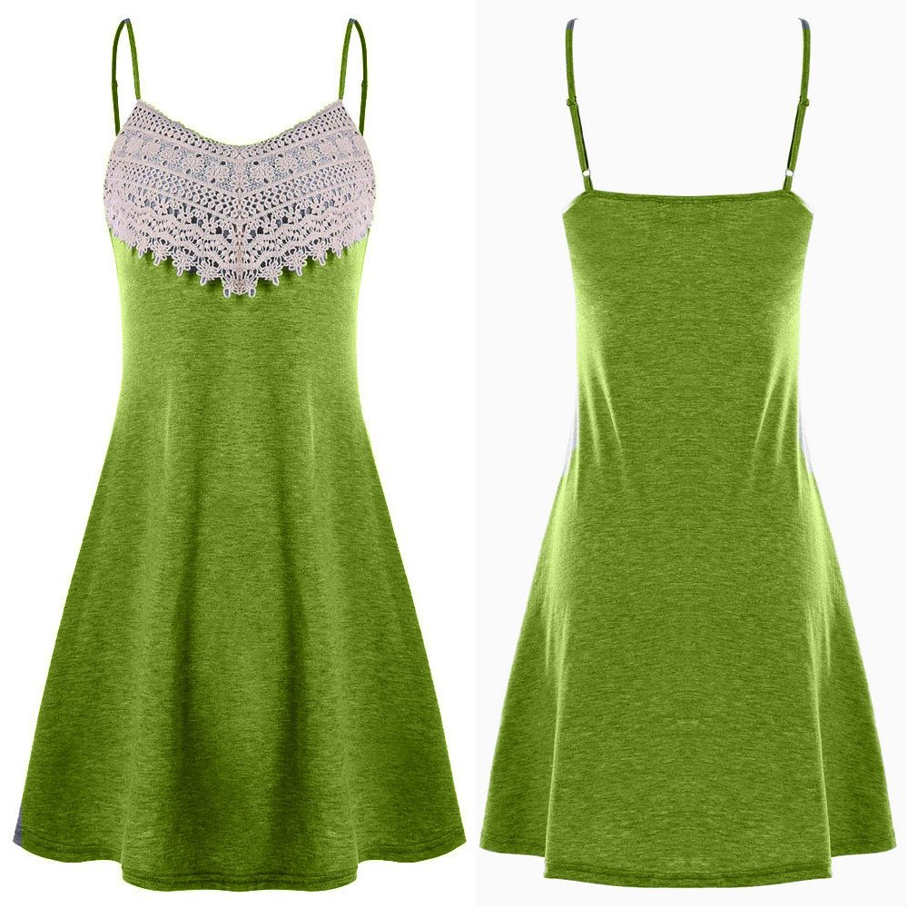 Dress Long for Women Elegant Party,Mlide Fashion Crochet Lace Backless Mini Slip Dress Camisole Sleeveless Dress,Army Green XL by Mlide (Image #3)