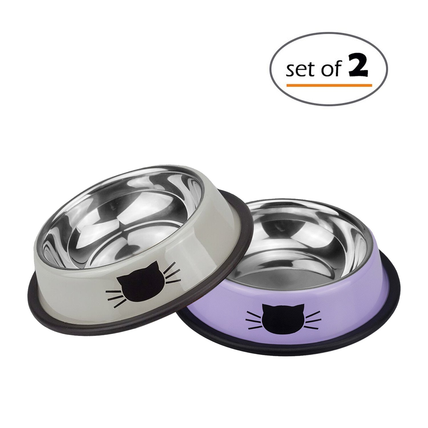 Petfamily Stainless Steel Bowl Colorful Cute Dog Bowl or Cat Dish with Non-Sl...