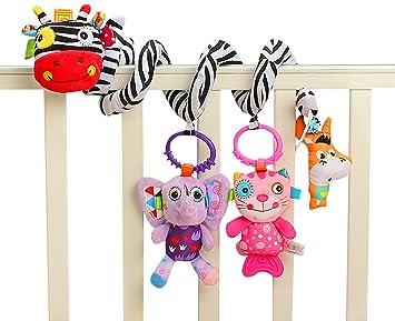 Jollybaby - Juguetes Colgantes Espiral de Animales para Cuna Cochecito Carrito bebés niños niñas arrastrar - Cebra: Amazon.es: Juguetes y juegos