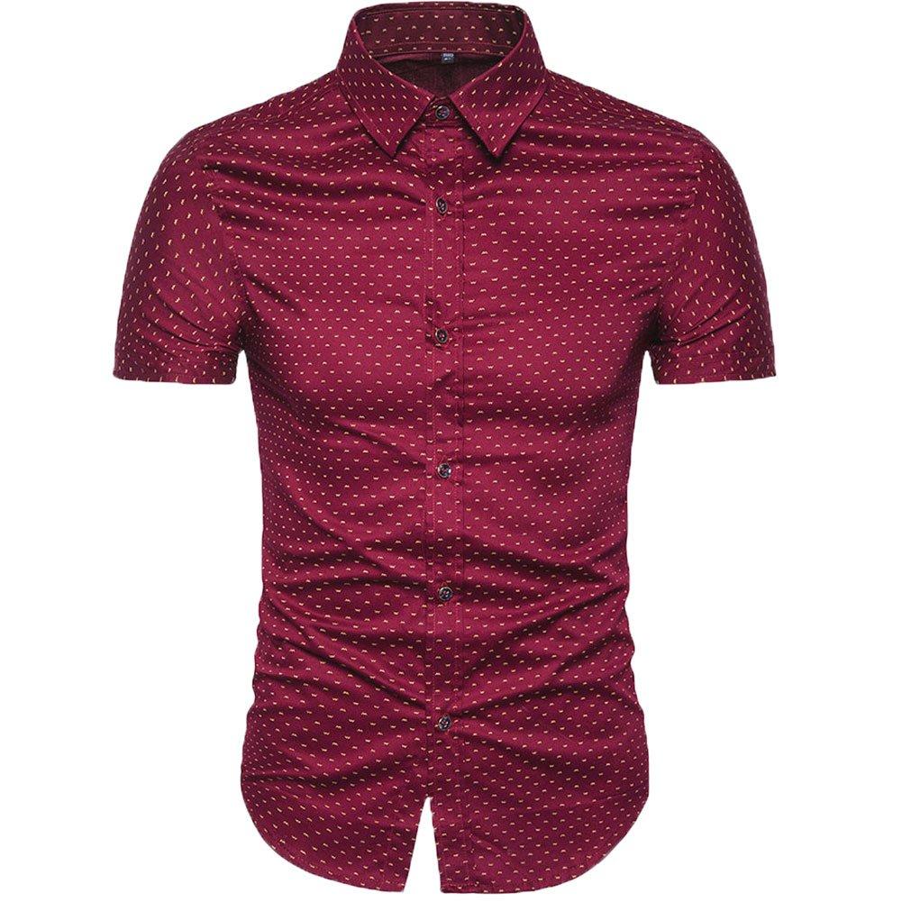 MUSE FATH Men's Printed Dress Shirt-100% Cotton Casual Short Sleeve Shirt- Interview Dress Shirt-Wine RED New-M