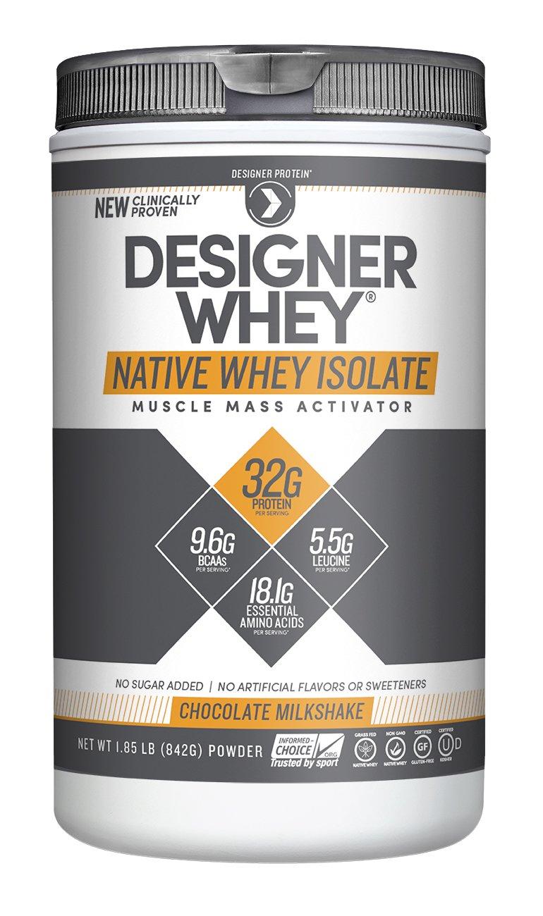Designer Protein 100% Native Whey Isolate, Chocolate Milkshake, 1.85 Pound