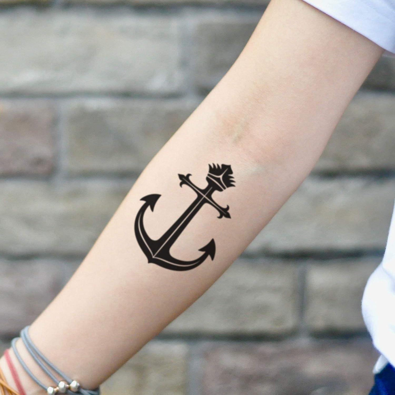 Tatuaje Temporal de Corona y ancla (2 Piezas) - www.ohmytat.com ...