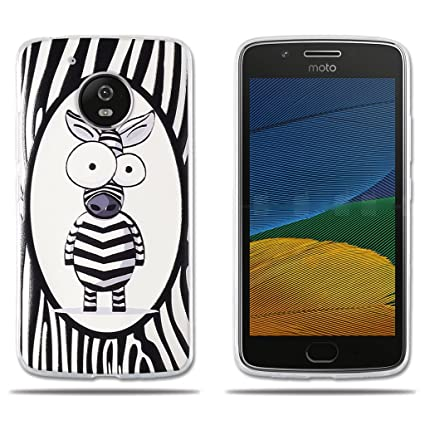 FUBAODA Funda Motorola Moto G5-Simpático Cebra Carcasa TPU Silicona Superior, Diseño Fino, Elegante y Agradable,Resistente a Golpes, Antipolvo, ...