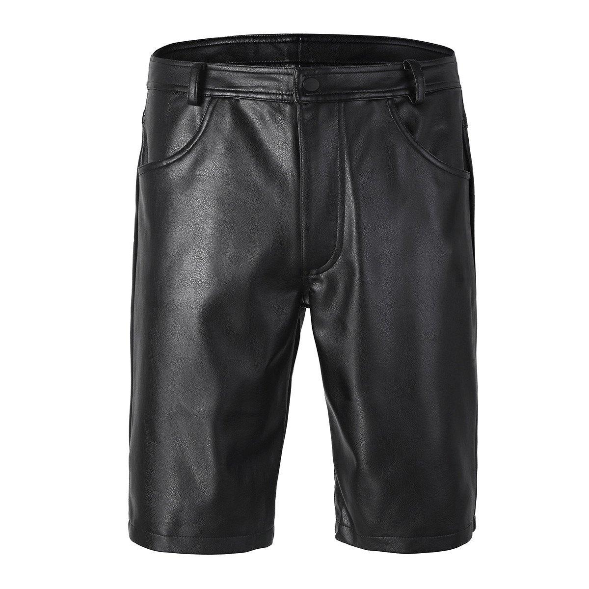 YiZYiF Men's Black Leather Cargo Shorts Sports Underwear Leg Bermuda Zipper Pants