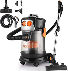 TACKLIFE Wet Dry Vacuum, 4 Gallon 4 HP Peak Shop Vacuum with Extension Wand 4 Wheels Low Power Loss for Home Garage Cars