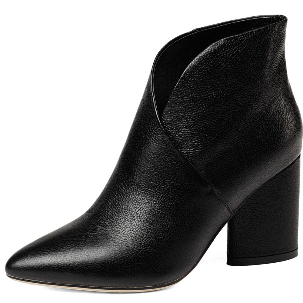 Nine Seven Genuine Leather Women's Pointed Toe High Heel Handmade Colorful Graceful Ankle Boots B0769D5HZQ 7 B(M) US|Black