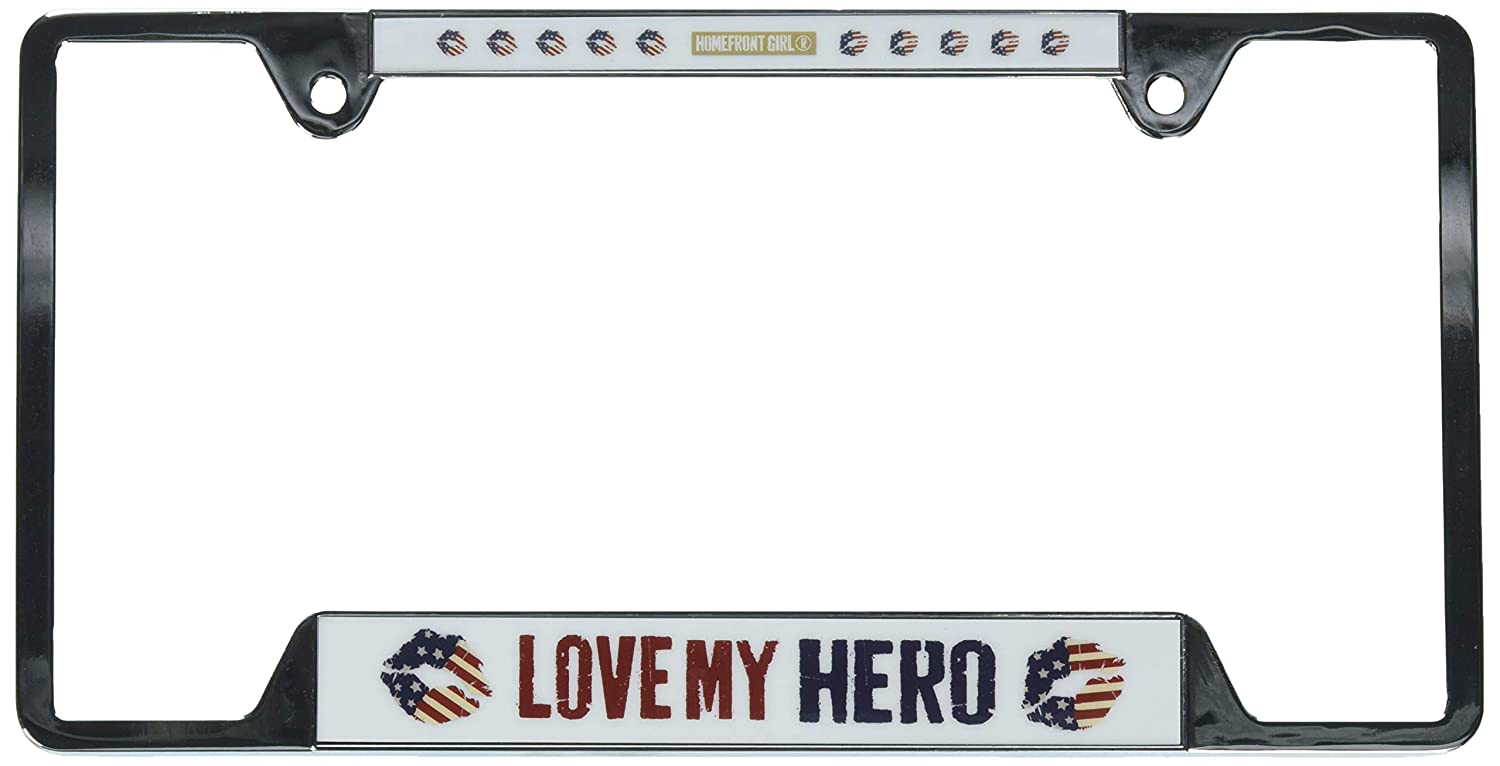 Multi Wincraft 25645218 USA Metal License Plate Frame Love My Hero