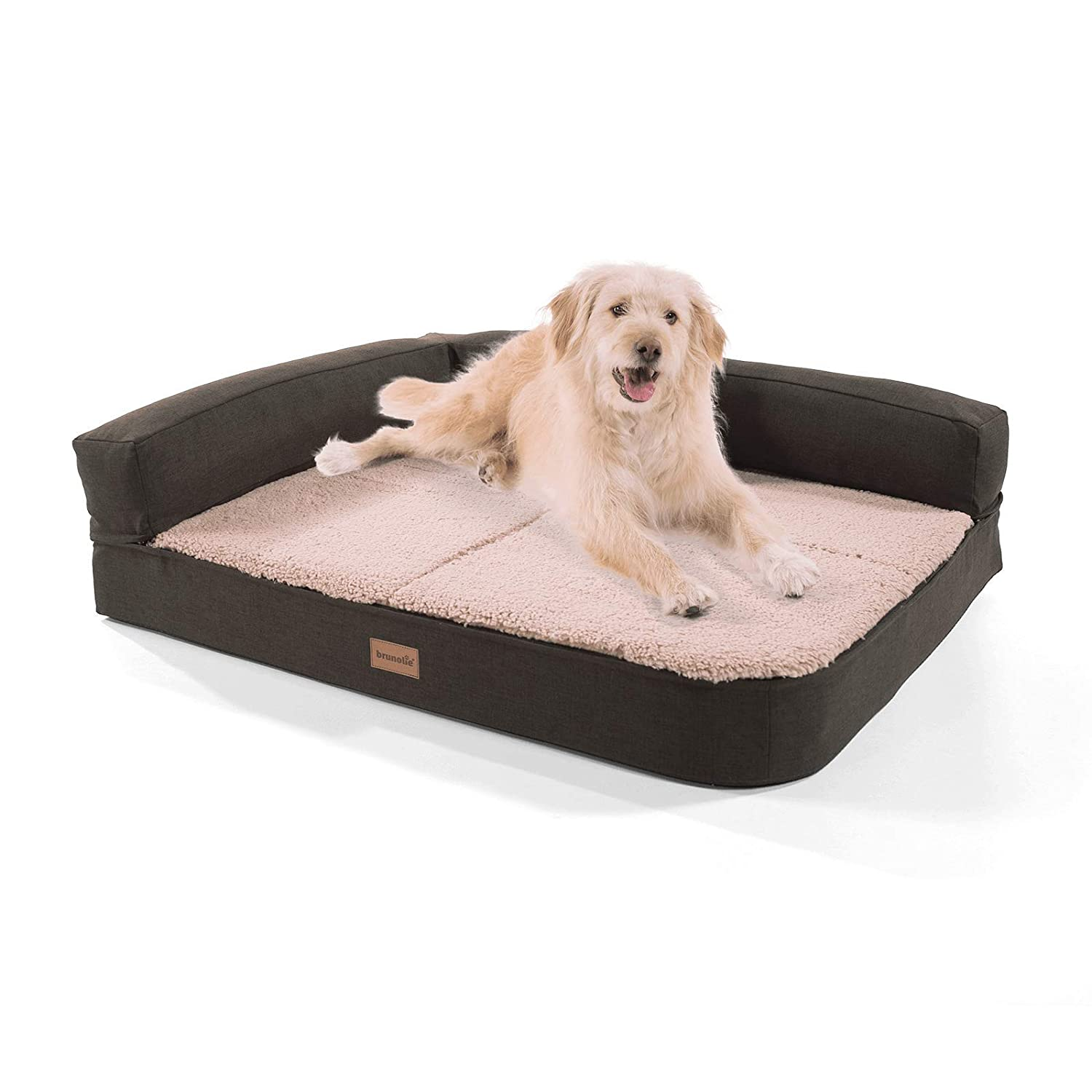 Beige medium 100 x 80 cmbrunolie  Odin dog sofa – washable, orthopaedic and nonslip dog bed in darkbrown with cuddly plush, size L