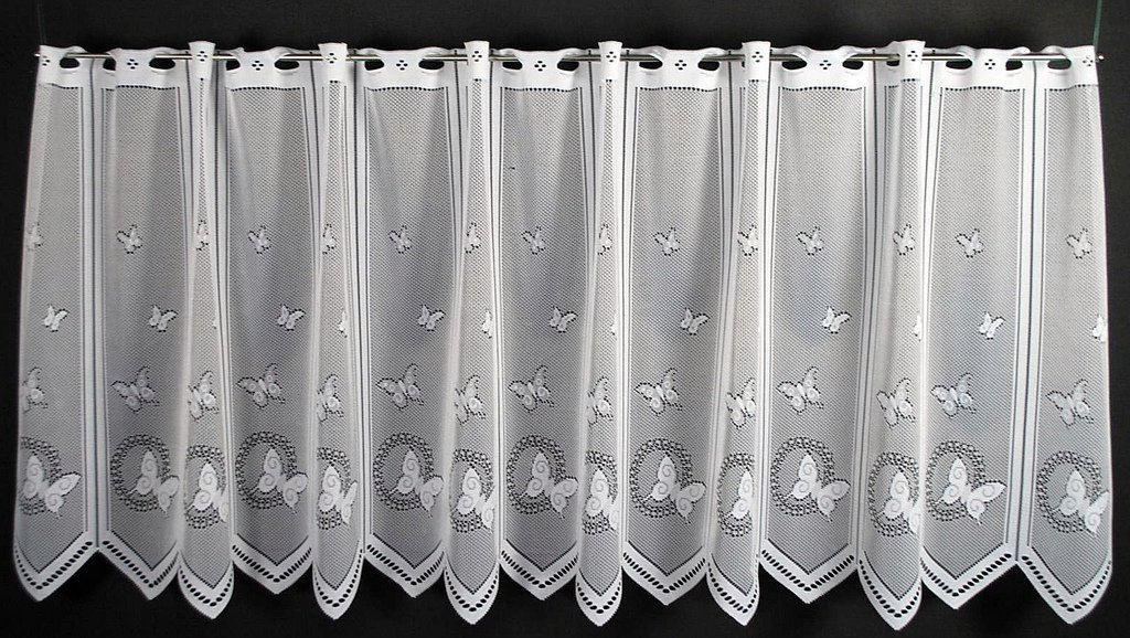 Curtain half-curtain butterflies 45 cm high | Width freely selectable in 12 cm steps via quantity purchased | Colour: White | Net curtains cafe kitchen frankgardinen