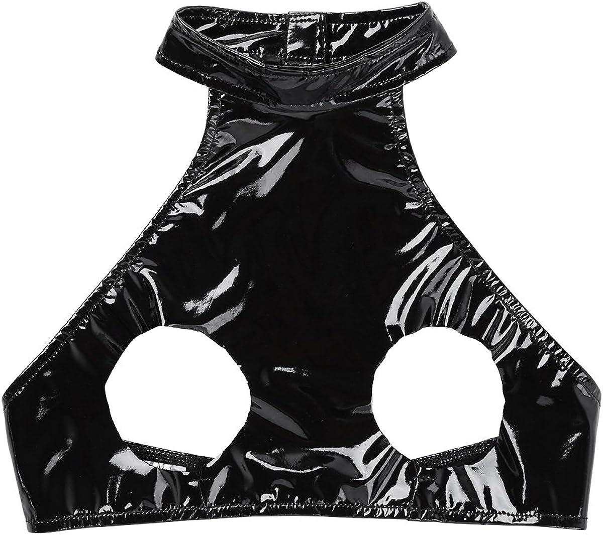 ACSUSS Women/â/€s Wet Look Leather Open Bust Cupless Bra PVC Lingerie Crop Top