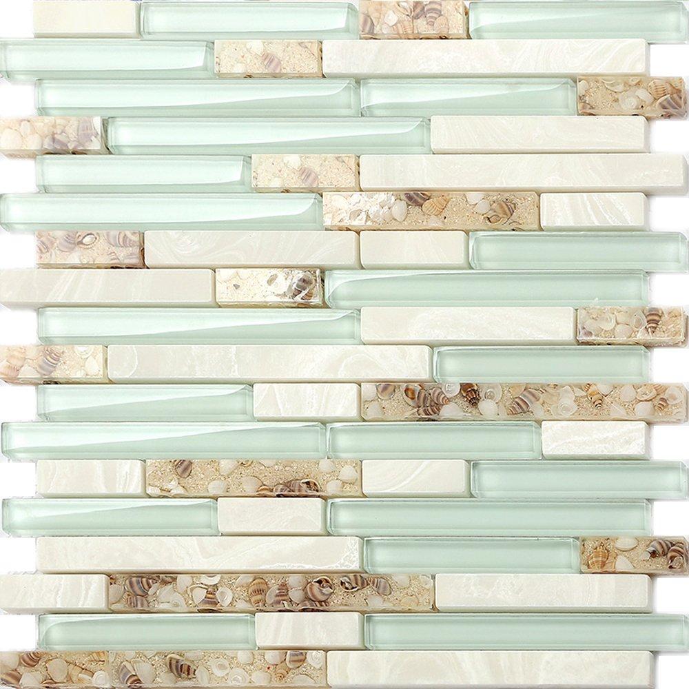 Beach Style Glass Tile Mother of Pearl Shell Resin Kitchen Backsplash Green Lake White Stone Interlocking Art Tile TSTMGT084 (5 PCS [12'' X 12''/Each])