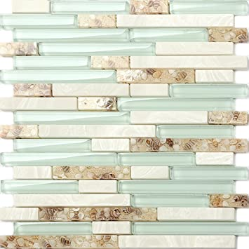 Beach Style Glass Tile Mother Of Pearl Shell Resin Kitchen Backsplash Green  Lake White Stone Interlocking