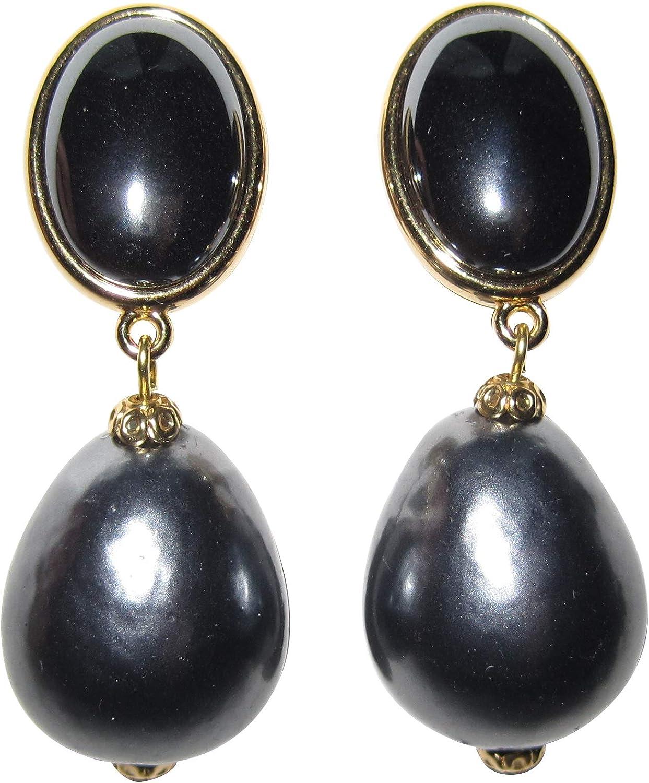 Elegante: pendientes de clip muy grandes y ligeros, chapados en oro, piedra gris brillante, colgante de perla gris oscuro con diseño de gota.
