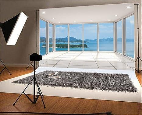 YongFoto 2,2x1,5m poliéster Fondo de Fotografia Sala de Estar Interior de la Vendimia Balcón Ventana de Vidrio Suelo de Madera Telón de Fondo Fondos fotográficos Party Banner Niños Photo Studio Props: Amazon.es: