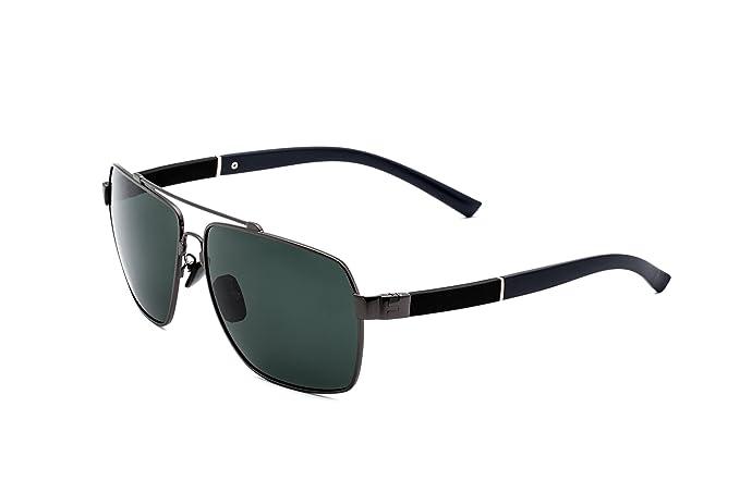 Hombre Gafas de Sol Polarizadas Aviador UV 400 Protección Gafas Ligeras con Estuche (Verde 1