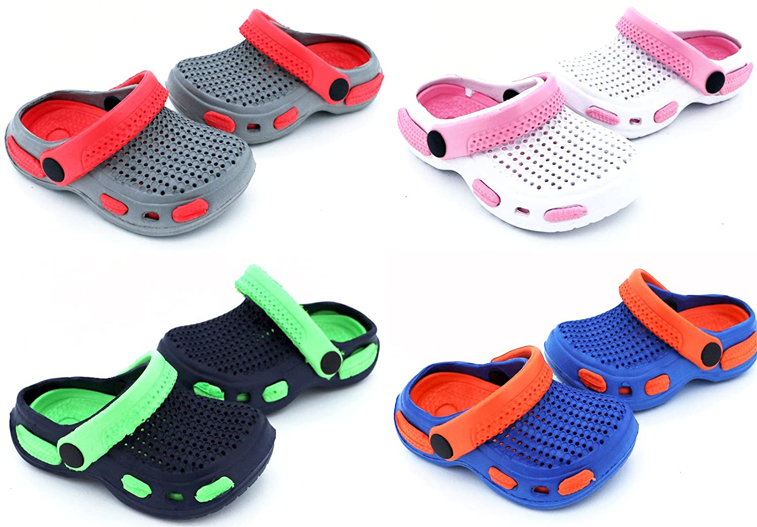Fashion& Joy - CLOGS Baby in blau orange Gr. 19 mit Fersenriemen und Profilsohle - Kinder Badeschuhe Sandalen - GESCHÜTZT UND GUT BELÜFTET durch den Sommer - Hausschuhe Pantoletten Babyclogs Unisex Clog Typ429 Heimtexland
