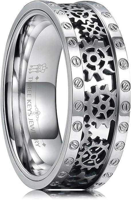 Three Keys Jewelry 8mm Steampunk Titanium Gear Wheel Pinion Bolts
