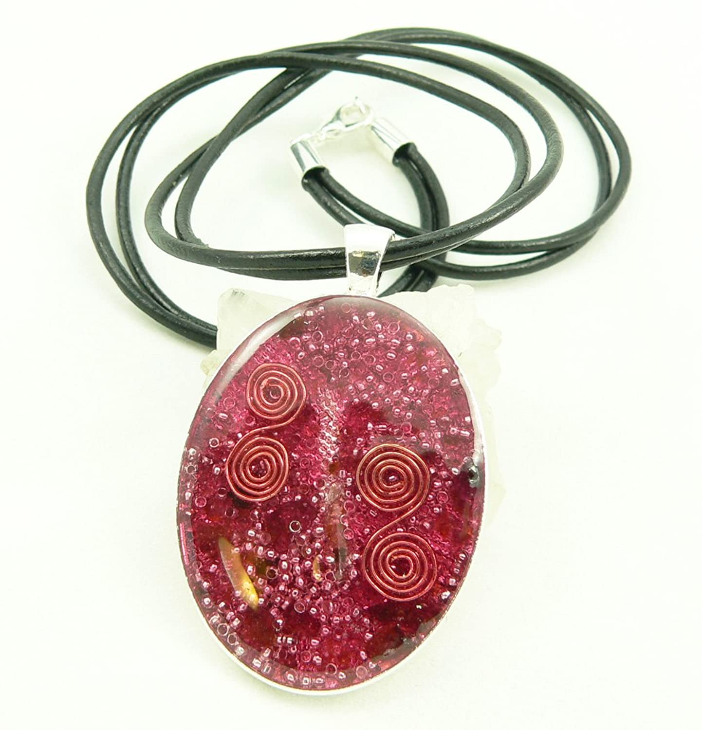 Orgone Energy Large Oval Necklace In Silver Finish