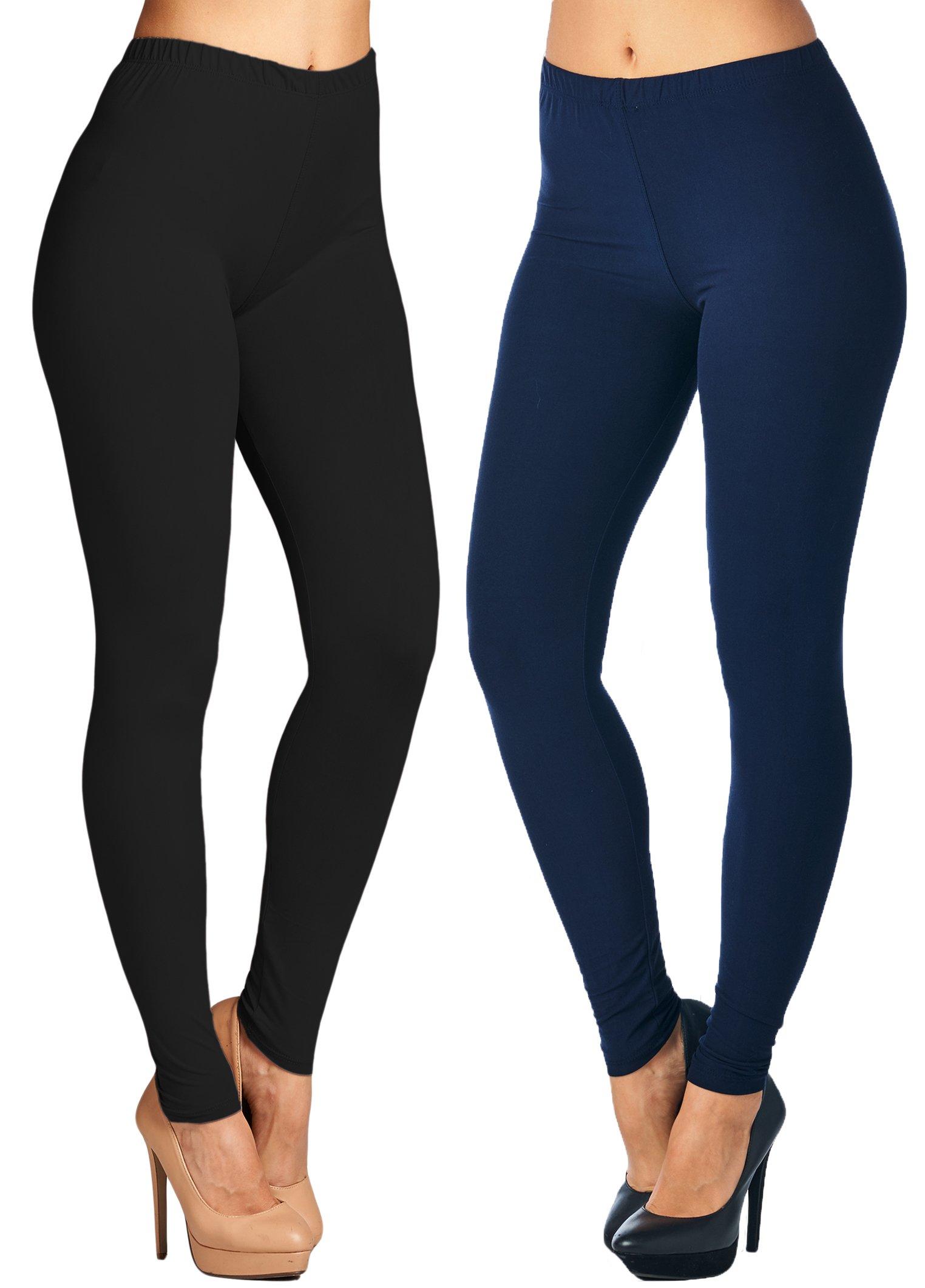 Leggings Mania 2-pk Women's Plus Solid Colored High Waist Leggings Black Navy