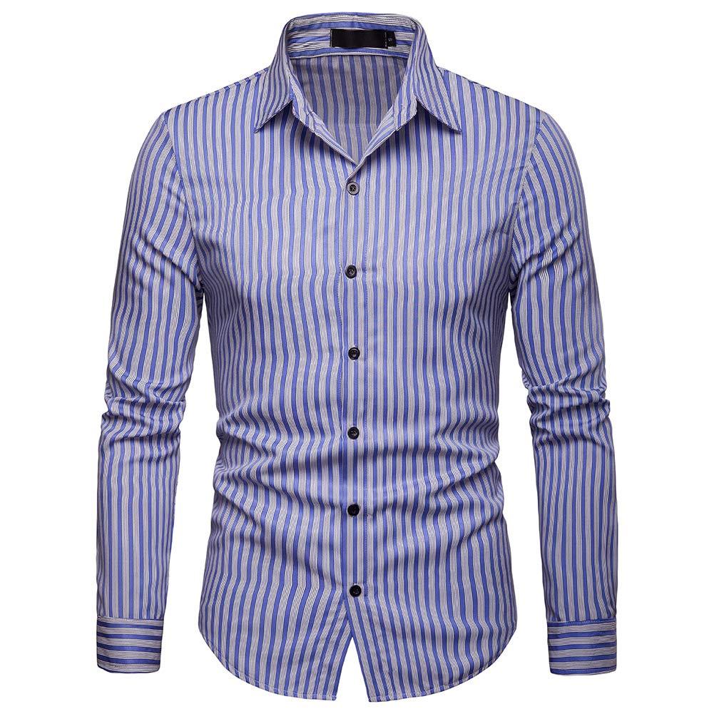 YFFUSHI Mens Plain Pinstriped Business Dress Shirt Slim Fit Casual Button Down Shirts