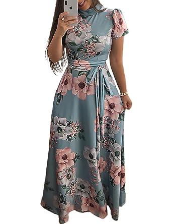 a35b1800b1 Boutiquefeel Women Floral Print Short Sleeve Tie Waist Maxi Dress:  Amazon.co.uk: Clothing