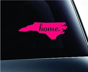 ExpressDecor Home State North Carolina Symbol Decal Family Love Car Truck Sticker Window (Pink)