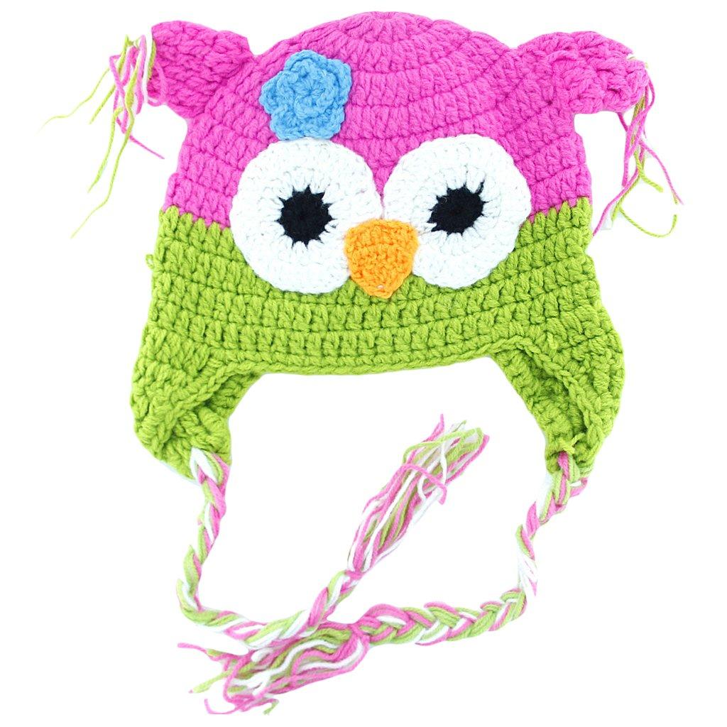 Toddler Infant Baby Handmade Owl Hat Crochet Knit Cap Beanie Hot Pink + Green Generic