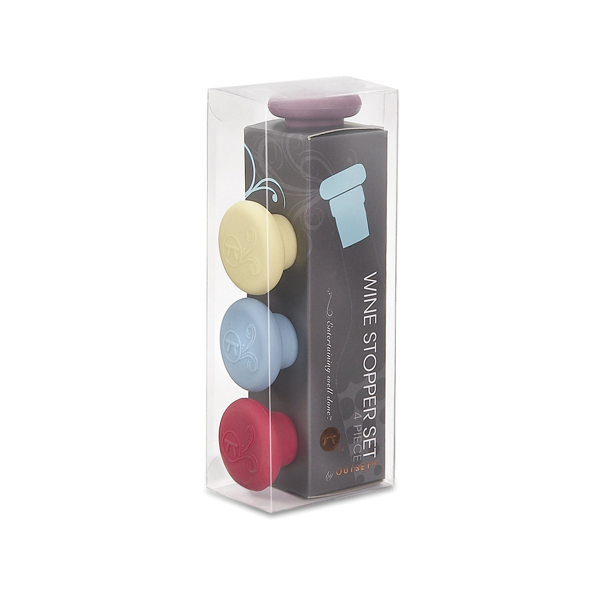 Outset B229 Silicone Wine Bottle Stoppers Set of 4 Multicolor