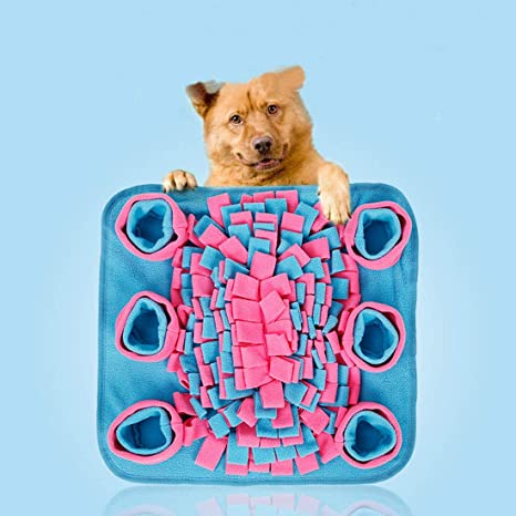 Bite-Resistant Dog Sniffing Pad Red+blue Pet Snuffle Mat for Dog ZPPLD Dog Puzzle Toys Pet Feeding Mat Puppy Training Pad Foraging Skill Puzzle Toys Stress Release,70x70cm
