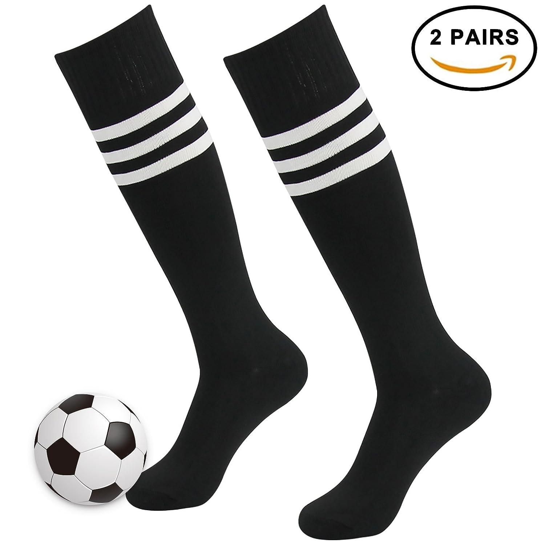 3streetユニセックスover calfストライプ/ソリッドロング冬スポーツSoccer Football Socks B077HWYK5V 2 Pairs Black with White Stripe 2 Pairs Black with White Stripe