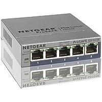 Netgear GS105E-200PES 5-Port Smart Managed Plus Gigabit Switch (Prosafe, bis 2000 MBit/s, Plug-and-Play und konfigurierbar, VLAN, QoS/DoS und mit deutscher Gui) grau