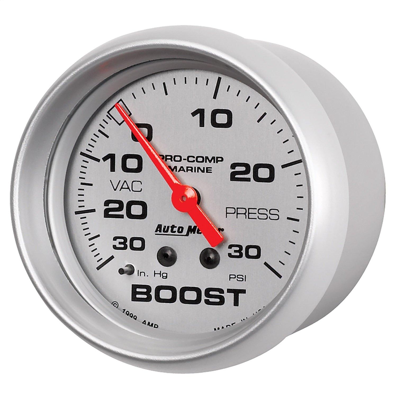 AutoMeter Auto Meter 200775-33 Silver Ultra-Lite Gauge, Vac/Boost, 2 5/8', 30Inhg-30Psi, Mechanical, Marine Chrome 2 5/8