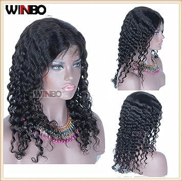 winbowig 7 un libre parte pelucas de pelo rizado brasileño Virgin Remy Cabello humano sin pegamento Lace Front Peluca Pelucas De Encaje completa con pelo ...