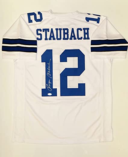 d213ce210 Image Unavailable. Image not available for. Color: Roger Staubach  Autographed White Pro Style Jersey- JSA W Authenticated