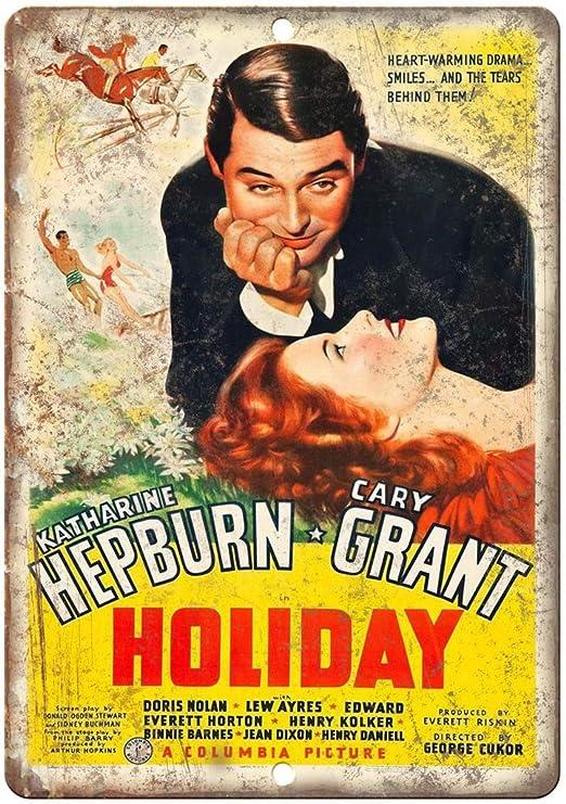 Holiday Hepburn Grant Movie Retro Cartel de Chapa Coffee ...