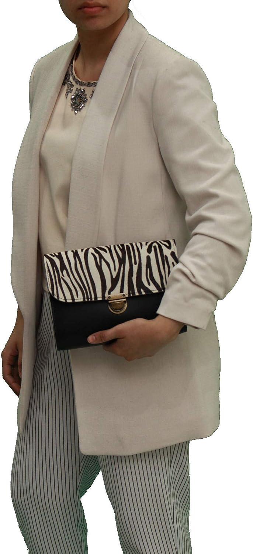 A to Z Leather Borse a mano classiche a tracolla in pelle da donna grandi e piccole fatte a mano. Offri iniziali gratuite Piccolo - Nero Con Stampa Zebrata Di Pelle Bovina