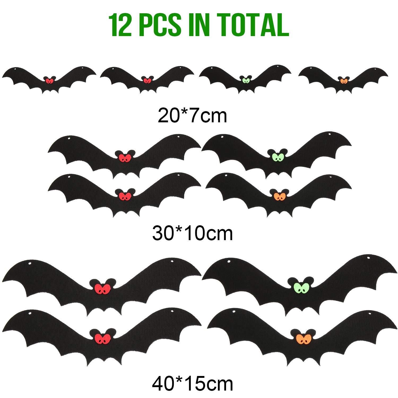 Realistico Aspetto Spettrale Nylon Appeso Pipistrelli per Forniture Festa Halloween e Decorazione Boao 12 Pezzi Halloween Realistico Appeso Pipistrelli Pipistrelli Aspetto Spettrale