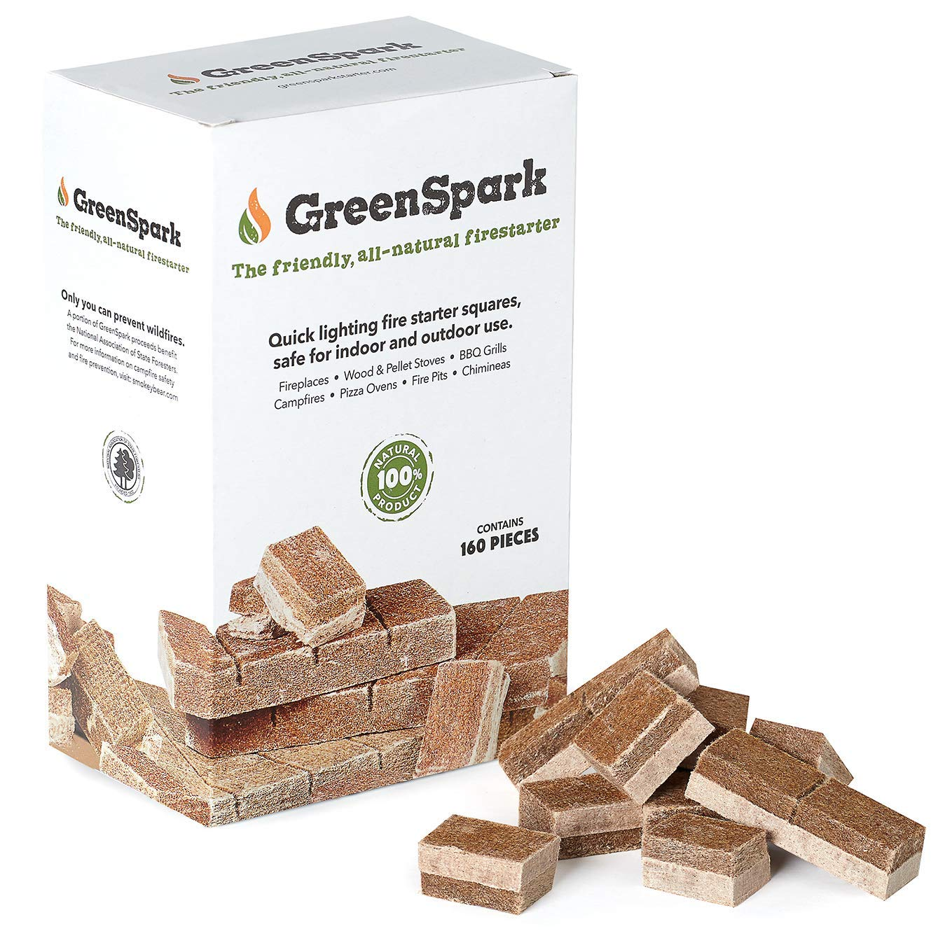 GreenSpark Fire Starter 160 Squares, All-Natural, Fireplace, Campfire, Fire Pit, Grill, BBQ Smoker, Wood & Pellet Stove, Indoor & Outdoor, All-Weather, Super Fast Lighting by GreenSpark