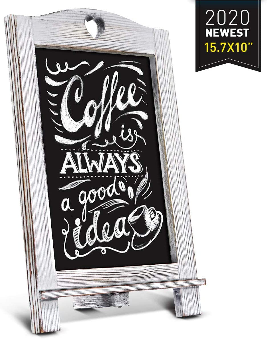 Homemaxs Chalkboard Signs Rustic Magnetic Tabletop Chalk Board 15.7 X 10 with Frame and Hanging String, Easel Countertop Memo Decor Board for Wedding, Kitchen: Office Products