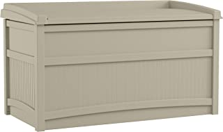 product image for Suncast 50 Gallon Box Small Waterproof Outdoor Storage Container for Gardening Tools, Athletic Equipment and More Store Items on Deck, Patio, Backyard, Taupe