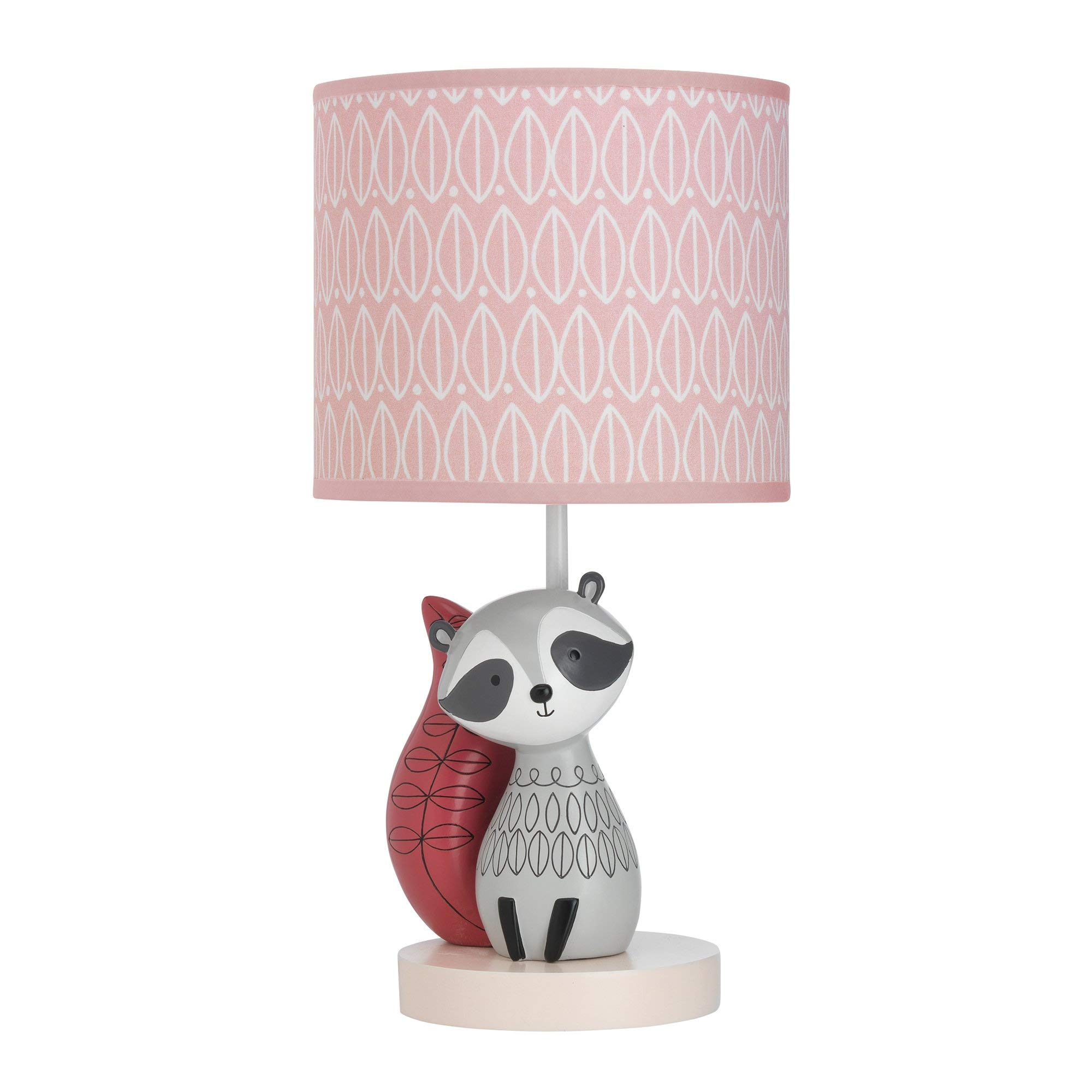 Lambs & Ivy Little Woodland Raccoon Lamp with Shade & Bulb, Pink/White