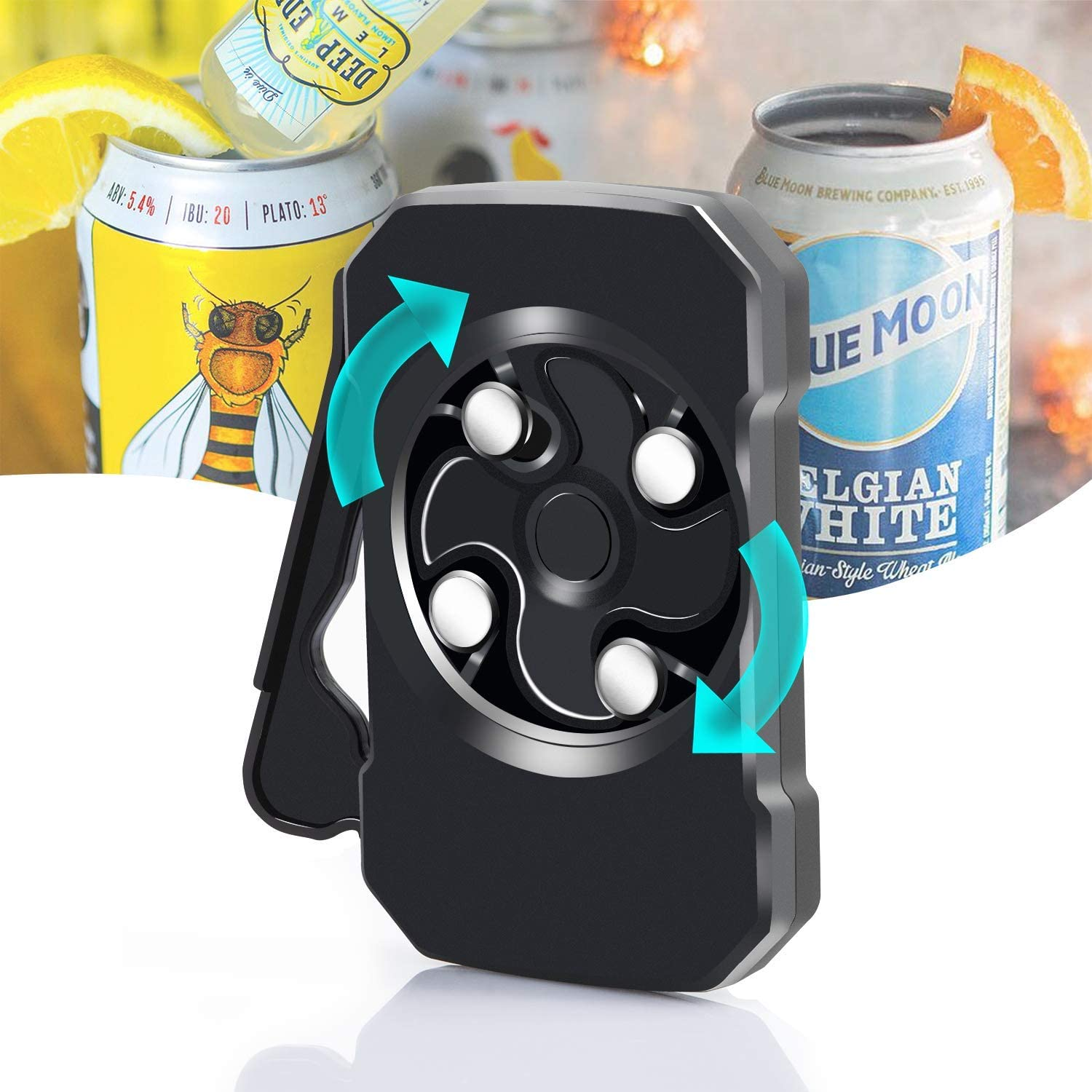 Blasoul Topless Can Opener,Multifunctional Bottle Opener Safety Easy Manual Can Opener Smooth Edge Beer Opener with Locking Feature, Can Opener Hand Held for 8-19 oz Beverage Cans,Household Bar Tool