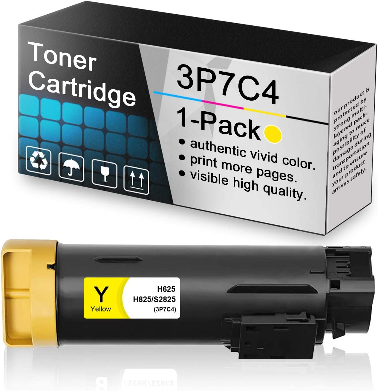1-Pack Yellow 3P7C4 Compatible Toner Cartridge Replacement for Dell h625 to use with Dell H625 H625cdw H825 H825cdw S2825cdn S2825 Printers.
