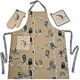 Designer Kitchen Apron Set – 3 Piece – Apron, Oven Mitt, Pot Holder – Kookaburra & Banksia Design – Australian Certified Organic Cotton Eco-Friendly – by The Linen Press