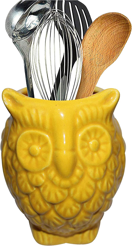 "2020 - ABHANDICRAFTS 5"" Yellow Ceramic Cooking Utensil Holder/Multipurpose Kitchen Storage Crock/Pen Pencil Holder Stationary Organizer for Home Office"