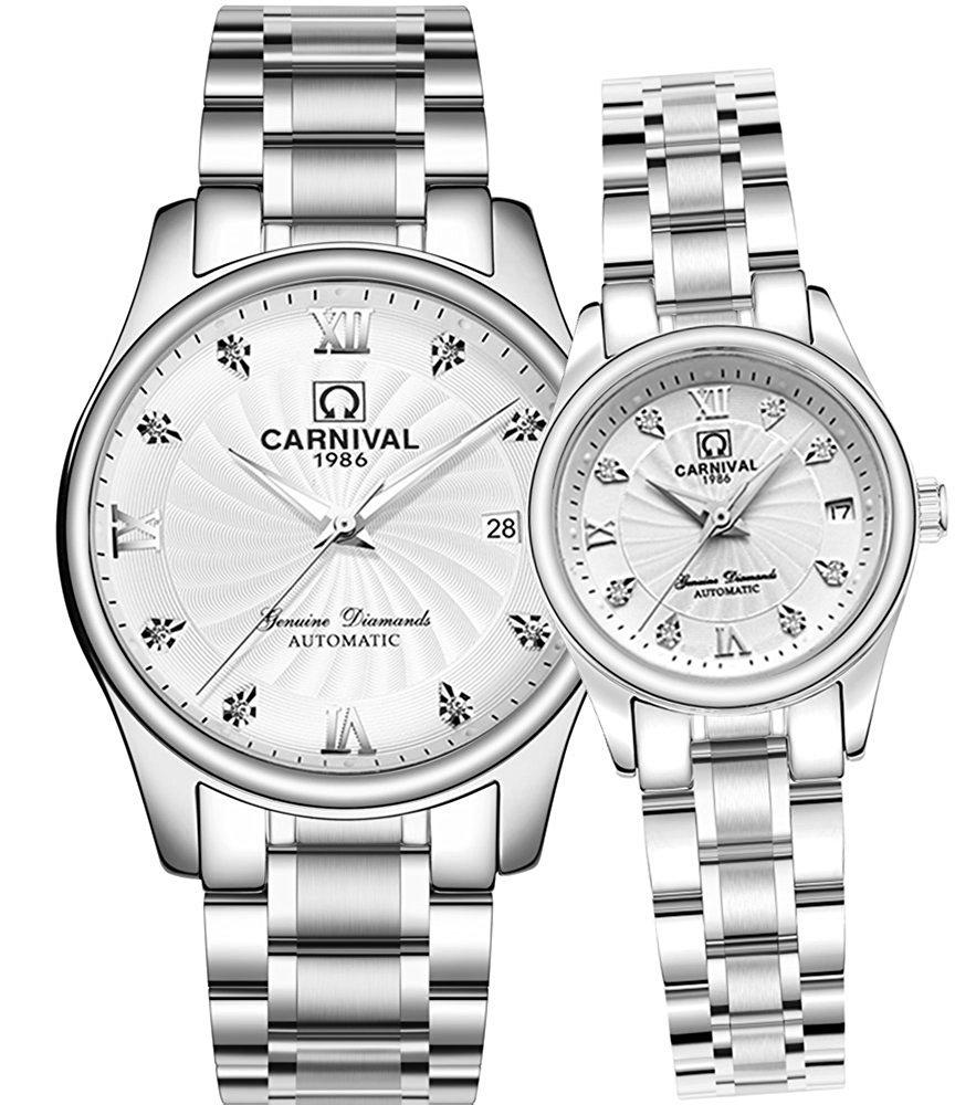 Business Automatic Mechanical Rhinestones Men Women Date Luminous Waterproof Stainless Steel Couple Watch (Silver White)