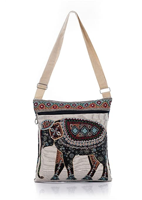 ca14ea07008e Nawoshow Bohemian Owl/Elephant Embroidered Pattern Shoulder Bag Crossbody  Bag Messenger Shopping Bag